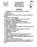 Words We Get from Germany Study List and Test