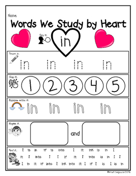 Words We Study By Heart-Dolch Pre-Primer