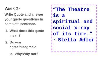 Words Wednesday Theatre I Bellwork