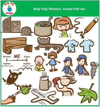 Words With Vowel Pair EW Phonics Clip Art by Roly Poly Designs