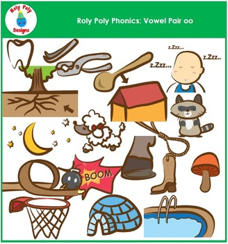Words With Vowel Pair OO Phonics Clip Art by Roly Poly Designs