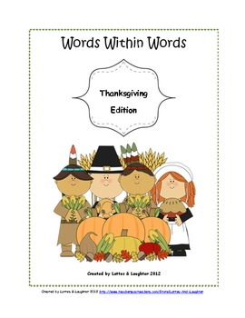 """""""Words Within Words: Thanksgiving Edition""""- Word Activity FREE"""
