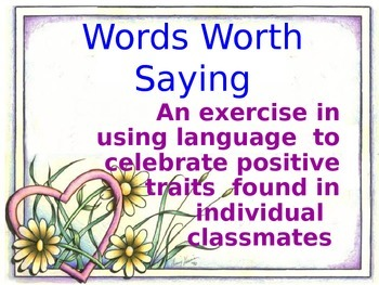 Words Worth Saying!  A Valentine's Day activity