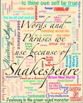 Words and Phrases We Use Because of Shakespeare Poster