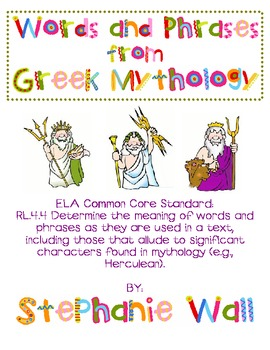 Words and Phrases from Mythology Research Activity - 4th Grade ELA