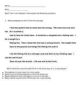 Words and Phrases in Text questions for an article