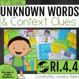 Context Clues and Unknown Words 4th Grade RI.4.4 with Digital Learning Links