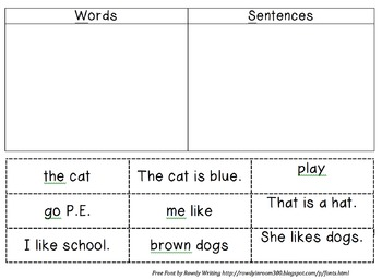 Words and Sentences Sort