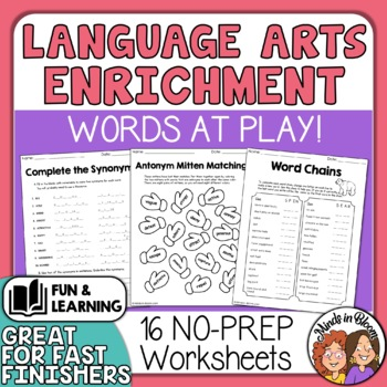 ELA Enrichment Printables - Higher Level Thinking Puzzles to Review Skills