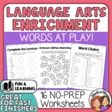 ELA Enrichment Worksheets to Review Skills for Centers Hom