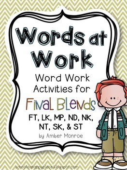 Words at Work {Word Work Activities for Final Blends}