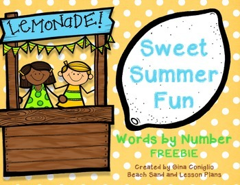 Words by Number Summer Freebie