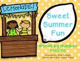 Words by Number Summer Freebie