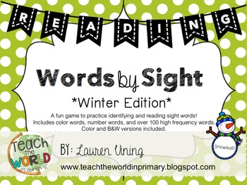 Words by Sight Game - Winter Edition