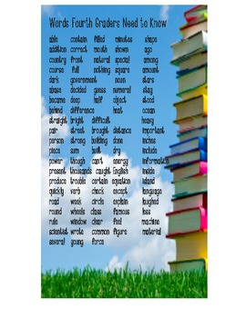 Words every fourth grader needs to know