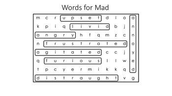 Words for Mad Word Search & Crossword [Zones of Self Regulation Activities]