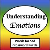 Words for Sad Word Search & Crossword [Zones of Self Regulation Activities]