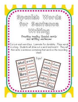 Words for Sentence Writing in Spanish