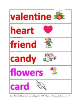 Words for Word Wall - Kingergarten to Grade 2