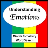 Words for Worry Word Search [Zones of Self Regulation Activities]
