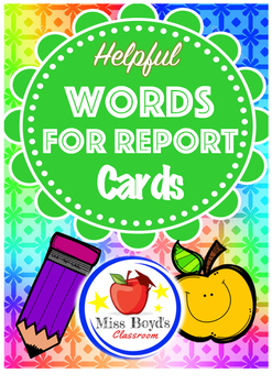 Words for report cards