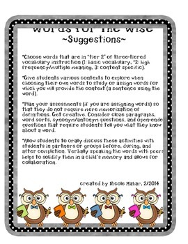 Words for the Wise: Vocabulary Activities & Graphic Organizers - CCCS Aligned