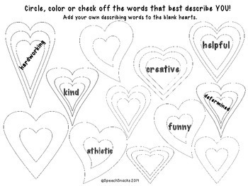 Words from My Heart: An Exercise in Kindness & Using Good Descriptions {FREE}