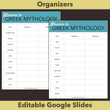Greek Mythology Allusions Unit - Learn 40 Words from Myths