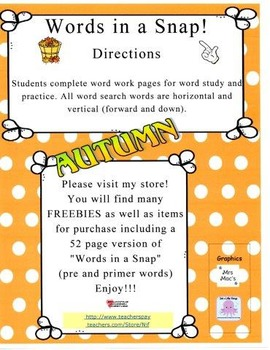 Words in a Snap! AUTUMN FREEBIE Word Work Bundle for Early Learners