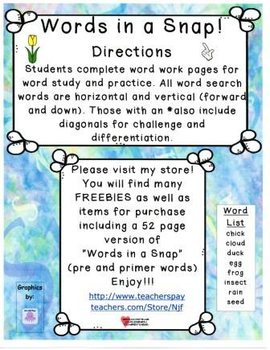 Words in a Snap! Spring FREEBIE Word Work Bundle for Early Learners