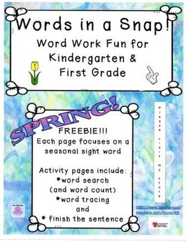 Words in a Snap! Spring FREEBIE Word Work Bundle for Early