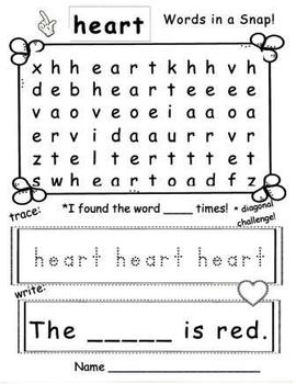 Words in a Snap! Valentine FREEBIE Word Work Bundle for Early Learners