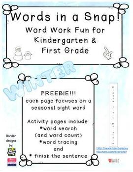 Words in a Snap! WINTER FREEBIE Word Work Bundle for Early Learners
