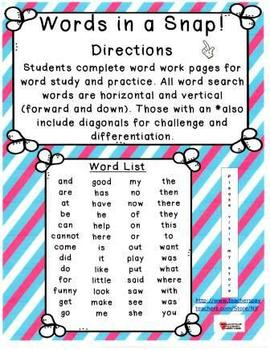 Words in a Snap! Word Work Bundle for Kindergarten and First Grade