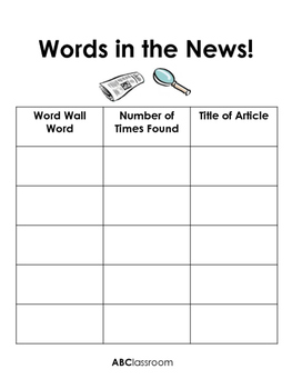 Words in the News Word Wall Station