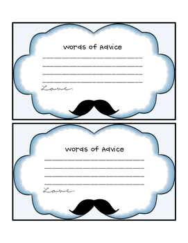 Words of Advice Cards Blue with Mustache Clip Art