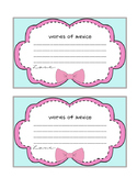 Words of Advice Cards Pink with Bow Clip Art