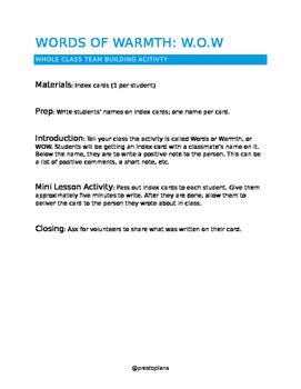 Words of Warmth Team Building Activity