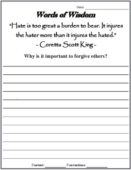 Words of Wisdom: Black History Month Quotes Edition (Common Core)