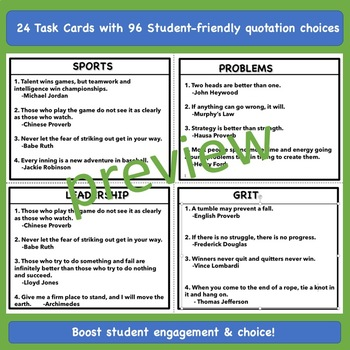 Words of Wisdom Quotation Task Cards: Character Ed, Morning Meetings, & Writing