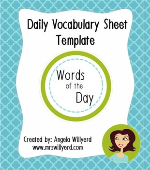 Words of the Day {Daily Vocabulary Template}