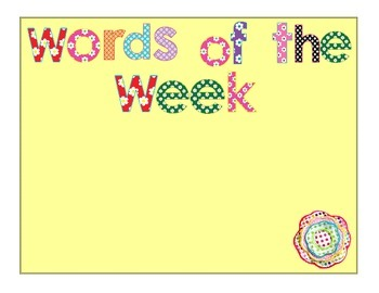 Words of the Week Chart