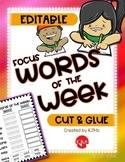 Words of the Week / Word Work Center: EDITABLE Cut & Glue