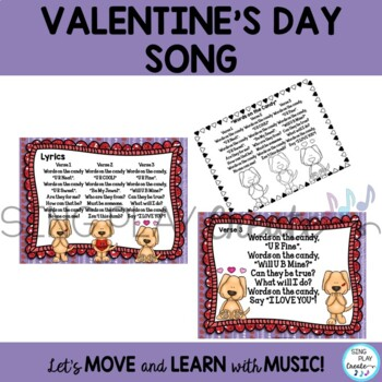 "Valentine's Day Song ""Words on the Candy"" Lesson,  Choral, Mp3, Actions"