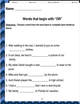 "Words that begin with ""DR"" (Based on Orton Gillingham.) 3 pages of practice."