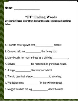 """Words that end with """"FT"""" & """"LT"""" (Based on Orton Gillingham.) 3 pages."""
