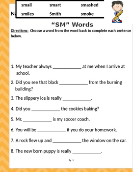 "Words that begin with ""SM"" & ""SN"" (Based on Orton Gillingham.) 3 pages."