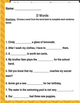 "Words that begin with the ""D"" sound. (Based on Orton Gillingham.) 3 pages."
