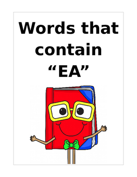 "Words that contain ""EA"" (Based on Orton Gillingham.) 3 pages of practice."