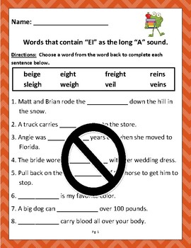 """Words that contain """"EI"""" as a long """"A""""(Based on Orton Gillingham.) 2 pages"""